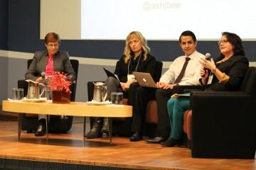 Panelists exchange views at the Feb. 4 forum.