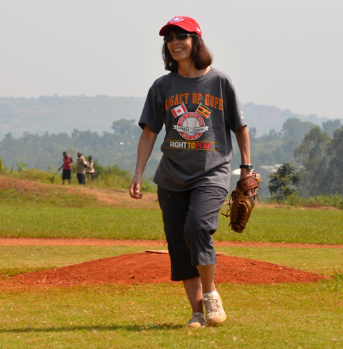 Ruth Hoffman on the mound in Uganda