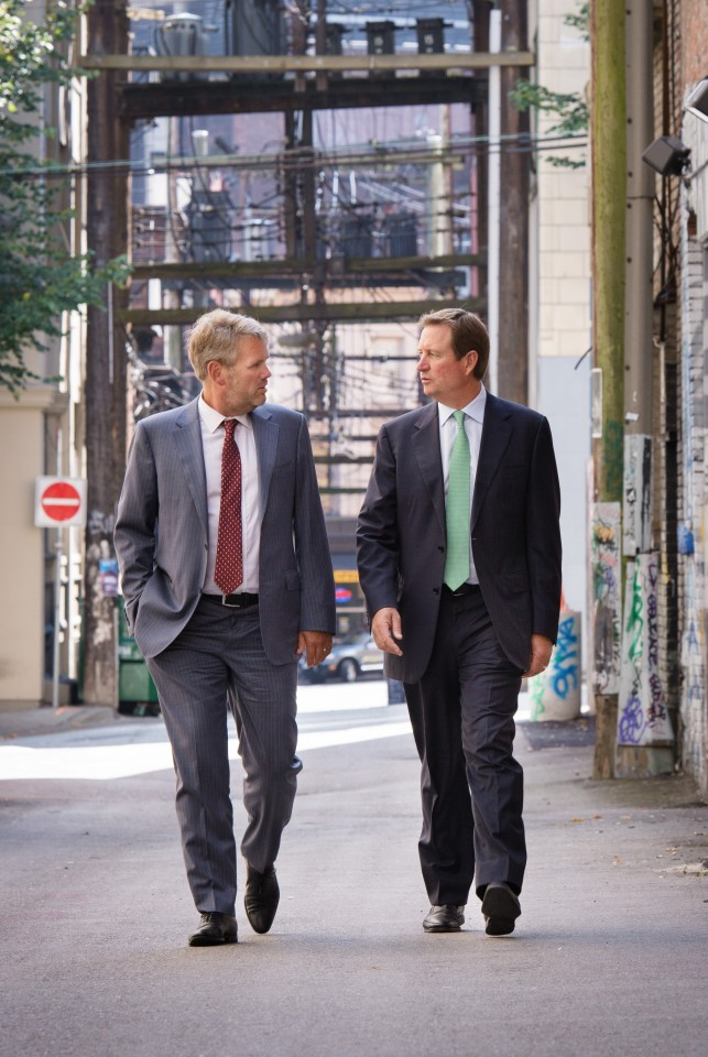 Mining executives Randy Smallwood and Chuck Jeannes in the Downtown Eastside. Photo: Martin Dee