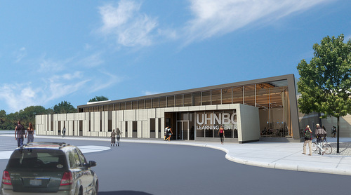 An architectural rendering of the Learning and Development Centre at the University Hospital of Northern British Columbia.