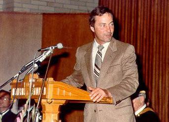 Former Premier Bill Bennett, speaking at opening of UBC's Asian Centre in 1981.