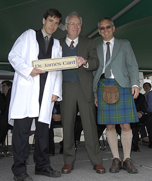 L-R: James Card at the Northern Medical Program graduation, with then Clerkship Director Galt Wilson and then Regional Associate Dean Dave Snadden.