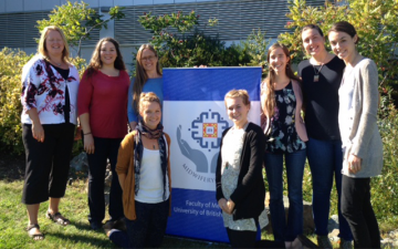 Island Cohort midwifery students (from left to right): Cindy Storie-Soth, Melanie Mason, Kati Mggeorge, Elicia Hennebury, Rebecca Dickinson, Julia Bailey, Lauren Mckenzie, Ariel Christman.