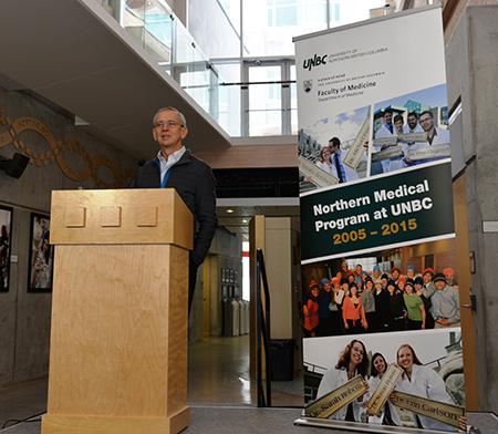 Dave Snadden speaks at the Northern Medical Program's 10th anniversary celebration.