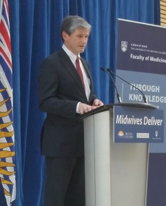 Minister of Advanced Education Andrew Wilkinson announcing funding to train internationally-educated midwives at UBC. Photo credit: Brian Kladko