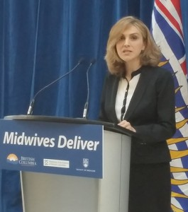 Mitra Latifian, an Iranian immigrant now working as a Vancouver midwife, speaks at the Jan. 14 announcement of a new training program for other internationally-educated midwives. Photo credit: Brian Kladko