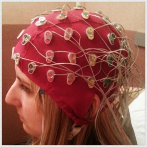An electroencephalogram cap used to measure the brain's electrical activity.