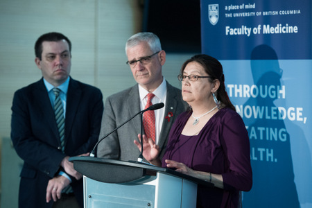 L-R: Assistant Professor M-J Milloy, Professor Julio Montaner and Claudette Cardinal, who has been using medical cannabis to tolerate HIV medication. Photo credit: Martin Dee