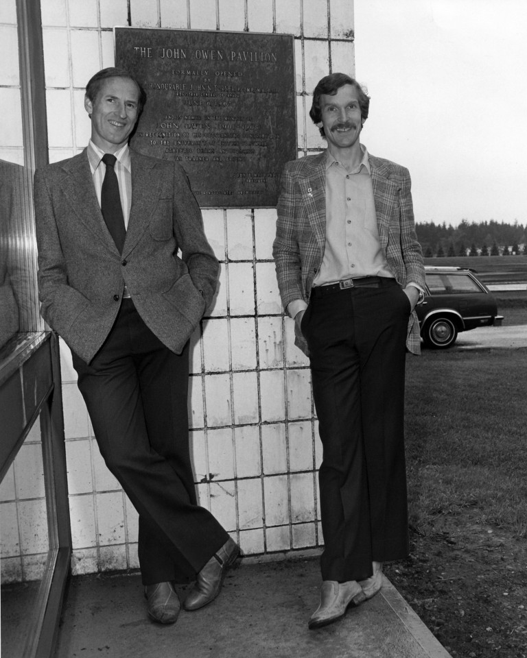 Jack Taunton and Doug Clement, co-founders of UBC's sports medicine group, outside the John Owen Pavilion in 1982, a year after moving into the facility. Photo courtesy of University of British Columbia Archives