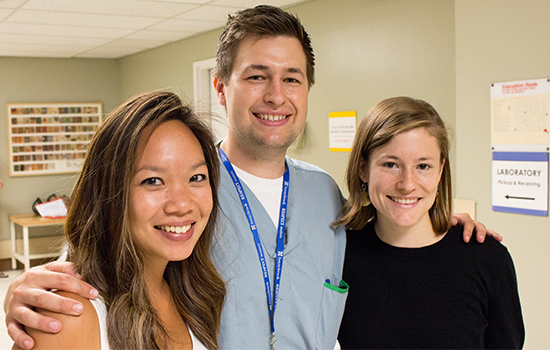 Left to right: Incoming UBC residents Tiffany Ngai (Pediatrics), Jake Zamora (Internal Medicine), and Moira de Valence (Family Medicine) are part of the largest cohort of entry-level postgraduate trainees in the history of B.C.