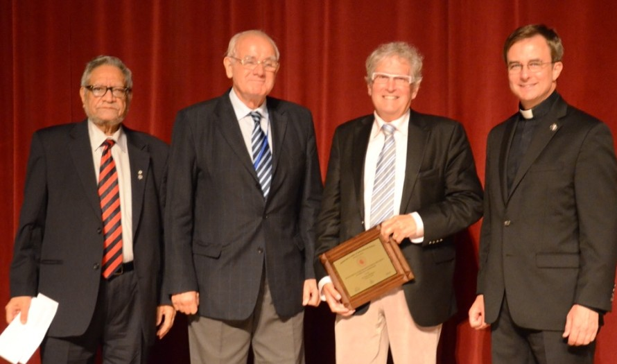 Pictured left to right: Dr. Naranjan Dhalla, Lifetime President, International Academy of Cardiovascular Sciences (IACS); Dr. Bohuslav Ostadal, President, IACS; Dr. Bruce McManus; Father Daniel Hendrikson, President, Creighton University.