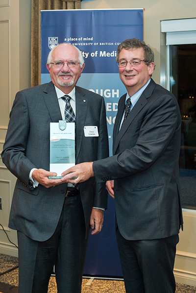 L-R: David Schiefele, recipient of the Bill & Marilyn Webber Lifetime Achievement Award, and Dermot Kelleher, Dean of the UBC Faculty of Medicine. Photo by: Don Erhardt