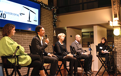 Successful MD event panelists (left to right): Dr. Beth Taylor, Dr. Simon Pulfrey, Dr. Roanne Preston, and Dr. Randy Mackoff, and event moderator Dr. Rhonda Low.