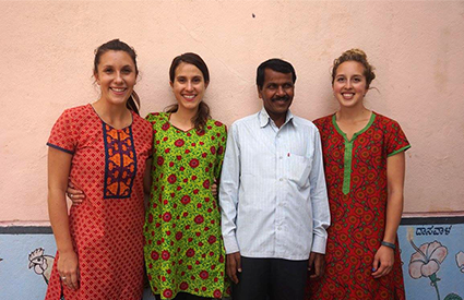 Preceptor Brooke Hannela (left) stands alongside and physical therapy students Kate Shaw and Rachelle MacDonald (far right), as well as the clinic supervisor in Deodurg, India.