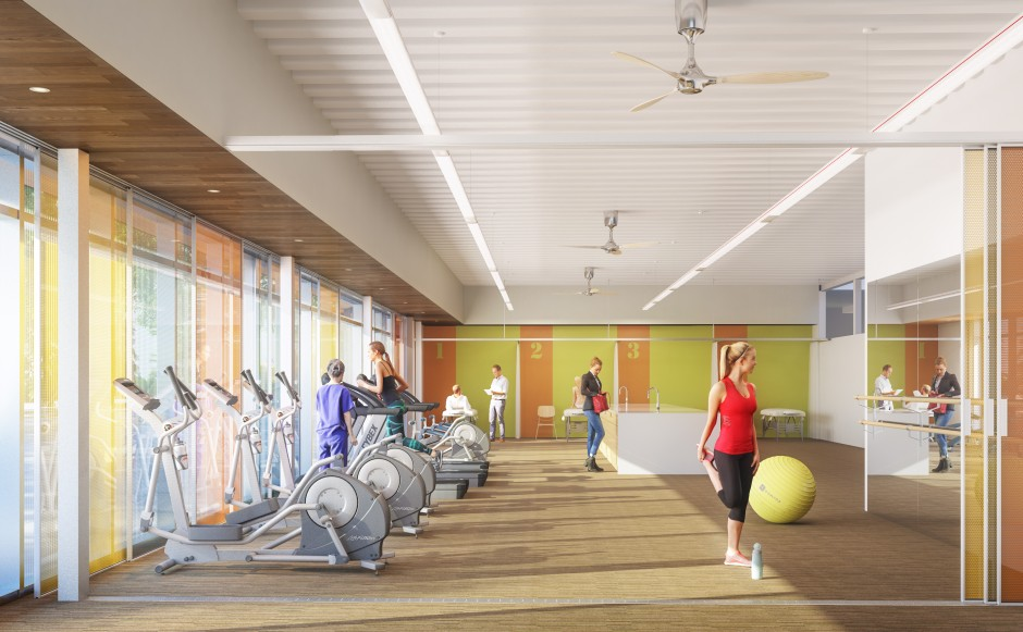 An architect's rendering of the Jack and Darlene Poole Rehabilitation and Research Gym. Illustration courtesy of HCMA Architecture + Design