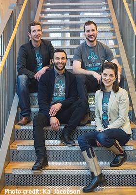 Hatching Health co-directors and UBC students Cameron Stuart (left), Ameen Amanian, and Daniel Raff alongside logistics coordinator, Ashley Anderson.