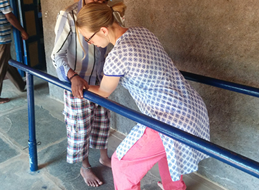 Mary-Anne Levson seen working at the Spinal-cord Rehabilitation Centre in Koppal, India.