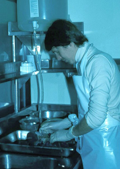 Michael Allard doing research during his pathology residency. Photo courtesy of Andrew Churg