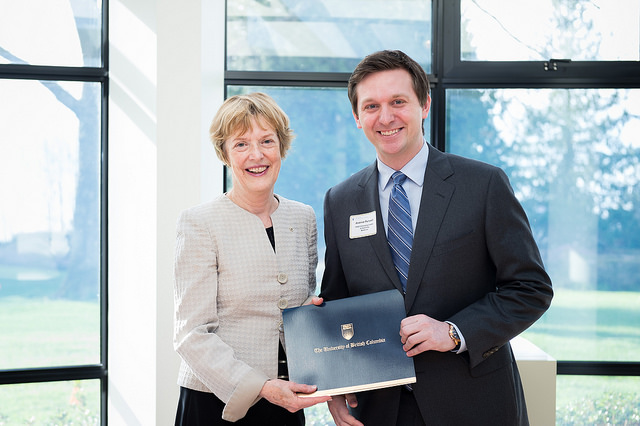 UBC Interim President, Martha Piper and HSBC Emerging Leader Scholarship, Wesbrook Recipient, Andrew Purssell