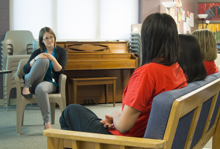 Rebecca MacLean-Angus meeting with four youths at the Burnaby Youth Custody Centre. Photo by Brian Kladko