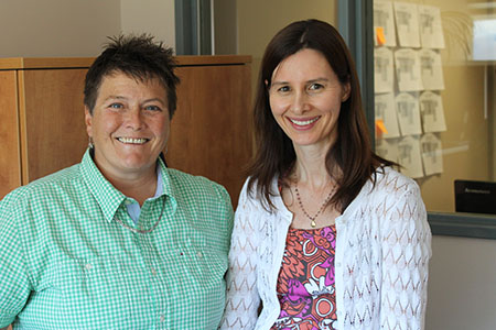 Margie Krabbe, director of UBC's South Okanagan Family Medicine residency site, stands alongside family physician Cathy Rooke.