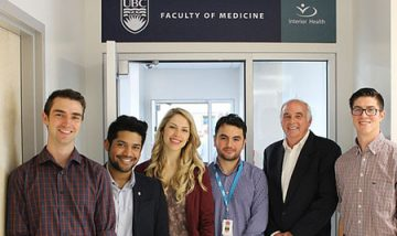 Dr. Allan Jones, Regional Associate Dean, Interior with SMP Kamloops students (L-R) Justin Lambert, Karan D'Souza, Sarah Miller, Rouzbeh Ghadiry-Tavi, and Colby Finney outside the new UBC education space at Royal Inland Hospital.