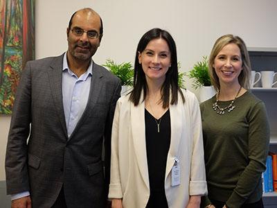 Left to right: Dr. Ravi Sidhu, Associate Dean, Postgraduate Medical Education, Rachel London, Resident Wellness Counsellor, and Rebecca Turnbull, Resident Wellness Counsellor and Program Lead. Photo credit: Lauren Phelan