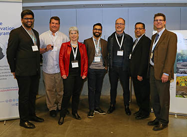 Hatching Health co-directors and distinguished guests. From left to right: Rohit Singla (UBC Biomedical Engineering MASc Cand.), Mr. Paul Geyer (CEO, LightIntegra), Ms. Louise Turner (COO, PHIX), Arun Dhir (UBC MD Undergrad), Dr. Bruce Forster (MD, Head of the Department of Radiology), Mohammed Hasham (Research Program Manager, Genome BC) and Dr. Robert Rohling (Professor, UBC Mechanical and Electrical Engineering).