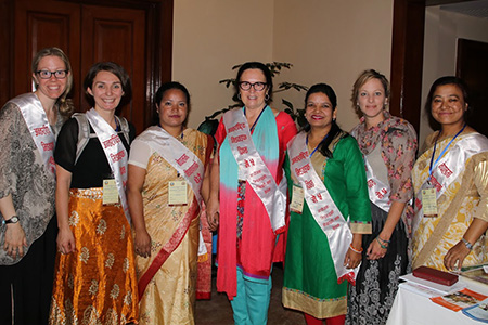 Cathy Ellis flanked by UBC midwifery students and Nepalese midwives at the Midwifery Society of Nepal (MIDSON) Conference in Kathmandu.