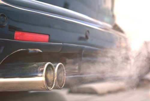 exhaust from a tailpipe on a car